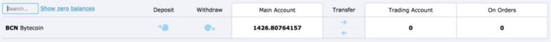 HitBTC BCN credit screen